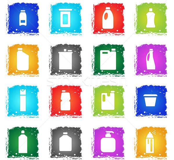 Casa produtos químicos os ícones do web grunge estilo Foto stock © ayaxmr