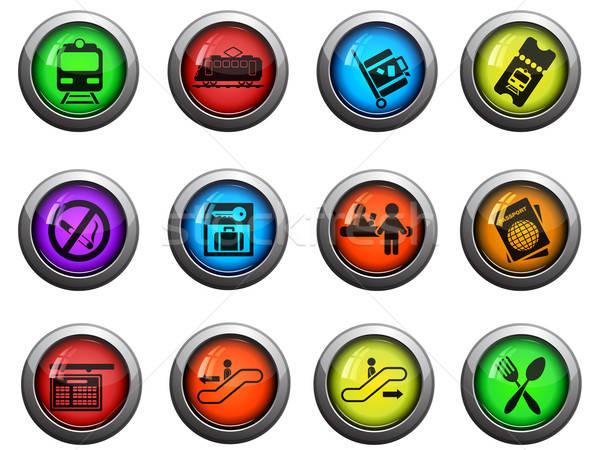 Vasútállomás ikon szett fényes ikonok weboldal felhasználó Stock fotó © ayaxmr