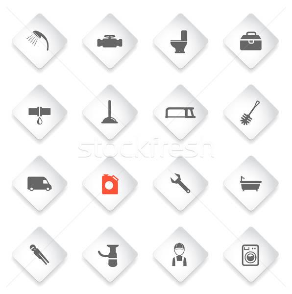 Encanamento serviço simplesmente ícones símbolo os ícones do web Foto stock © ayaxmr