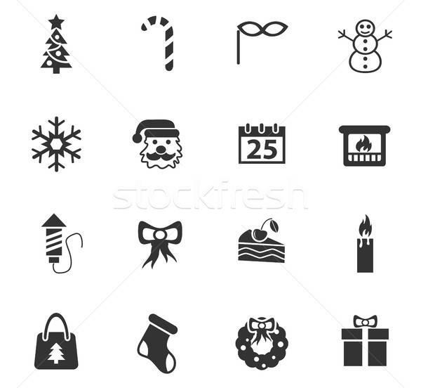 Karácsony ikon gyűjtemény webes ikonok felhasználó interfész terv Stock fotó © ayaxmr
