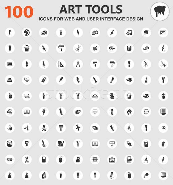 Stock fotó: Művészet · szerszámok · ikon · szett · ikonok · háló · felhasználó