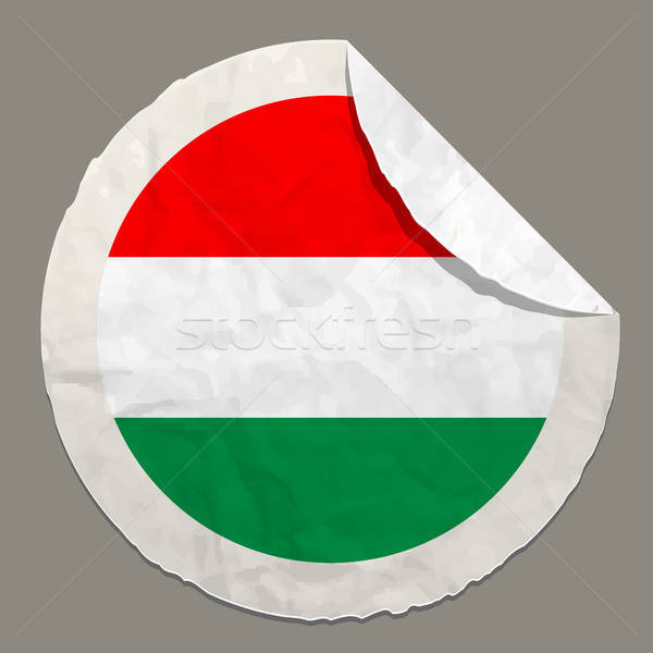 Hungary flag on a paper label Stock photo © ayaxmr