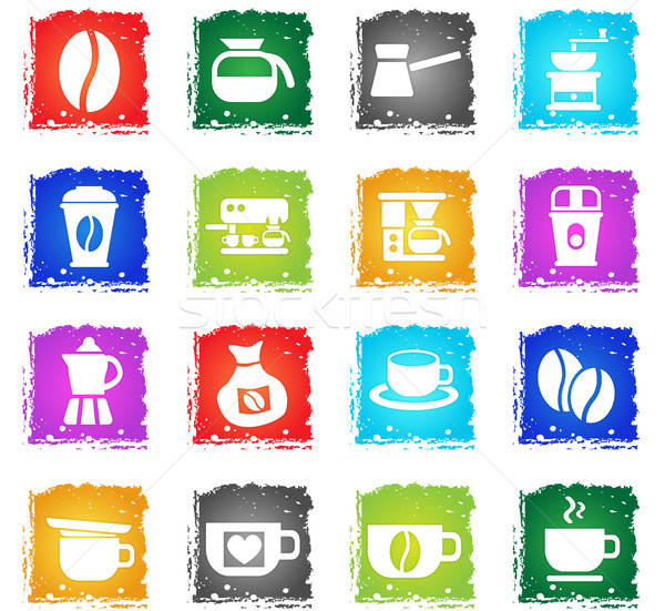 Koffie web icons grunge stijl gebruiker Stockfoto © ayaxmr