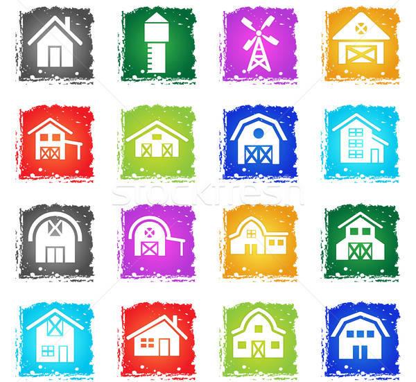 Farm épület ikon gyűjtemény webes ikonok grunge stílus Stock fotó © ayaxmr