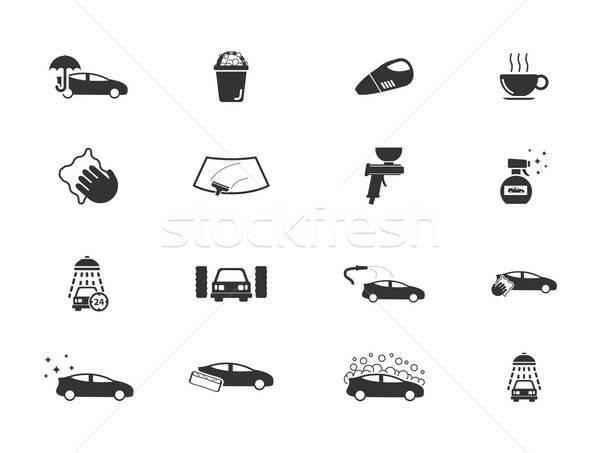 Car wash eenvoudig iconen symbolen web gebruiker Stockfoto © ayaxmr