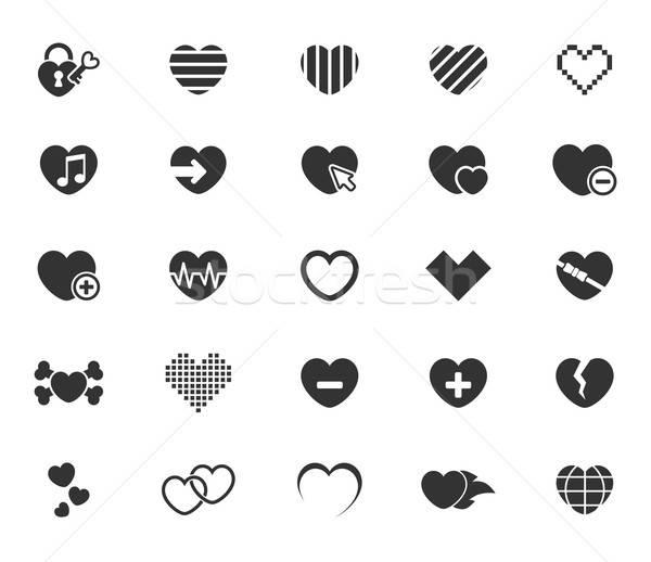 сердце просто иконки веб пользователь Сток-фото © ayaxmr