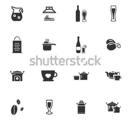Comida cozinha simplesmente ícones teia Foto stock © ayaxmr