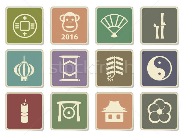 Zdjęcia stock: Chiński · nowy · rok · po · prostu · ikona · etykiety · internetowych · projektu