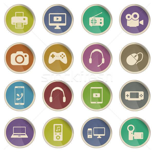 Kütyük egyszerűen ikonok címke háló felhasználó Stock fotó © ayaxmr
