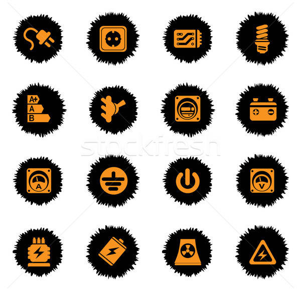 Electricity icons set Stock photo © ayaxmr