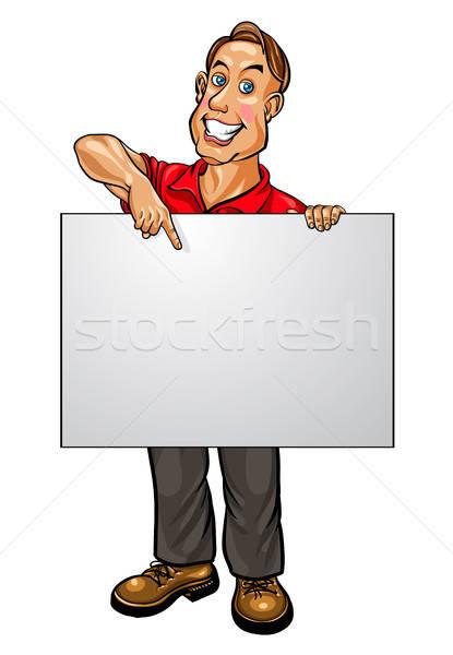 Uśmiechnięty biznesmen wskazując banner działalności spotkanie Zdjęcia stock © ayaxmr