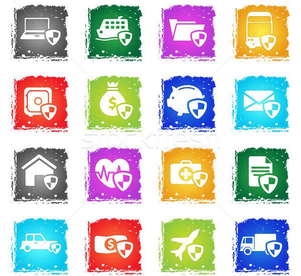 страхования просто иконки символ Гранж стиль Сток-фото © ayaxmr