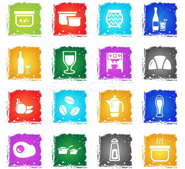 продовольствие кухне веб-иконы Гранж стиль Сток-фото © ayaxmr