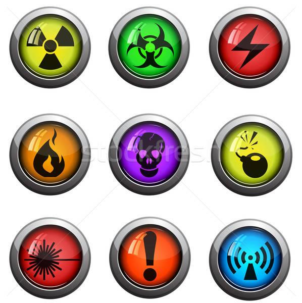 Hazard icons set Stock photo © ayaxmr