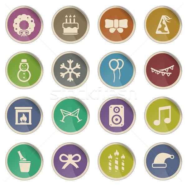 Año nuevo simplemente iconos etiqueta web usuario Foto stock © ayaxmr