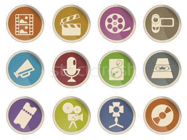Filmindustrie iconen label web gebruiker muziek Stockfoto © ayaxmr