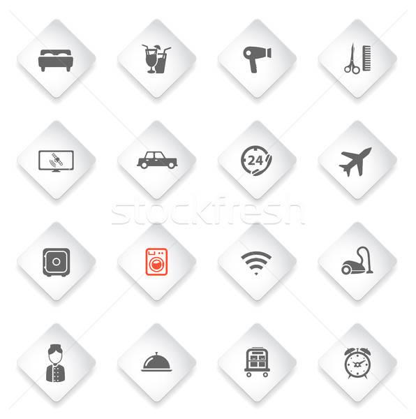 Hotel egyszerűen ikonok szimbólum webes ikonok felhasználó Stock fotó © ayaxmr