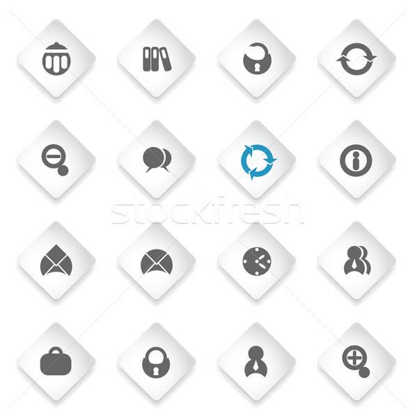 Fekete iroda ikon szett egyszerűen szimbólumok háló Stock fotó © ayaxmr