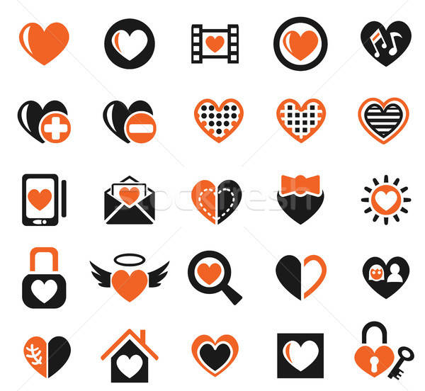heart love icon set Stock photo © ayaxmr