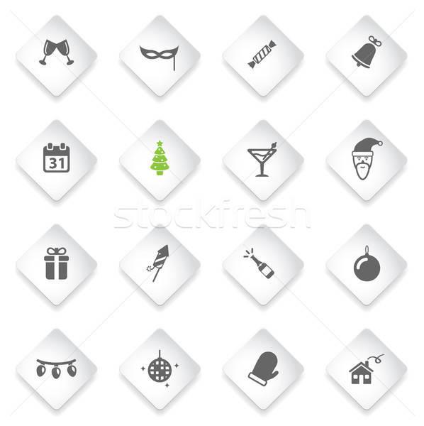 Новый год просто иконки веб-иконы дома Сток-фото © ayaxmr