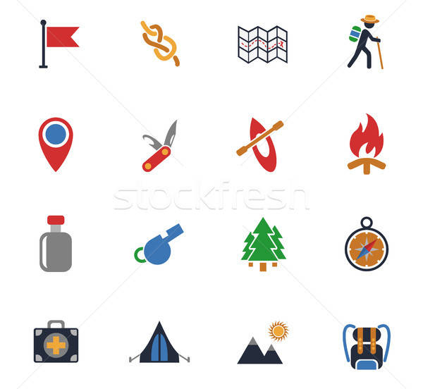 Stock photo: day of skouts icon set