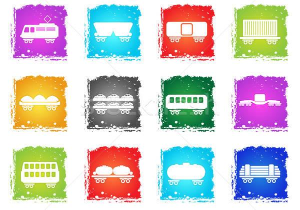 Forgalom ikonok egyszerűen szimbólumok grunge stílus Stock fotó © ayaxmr