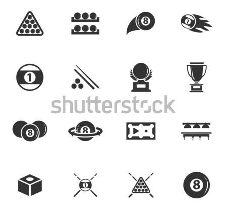 Biljart eenvoudig iconen web gebruiker Stockfoto © ayaxmr