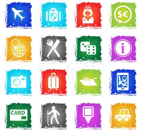 Viaggio vettore icone web grunge stile Foto d'archivio © ayaxmr