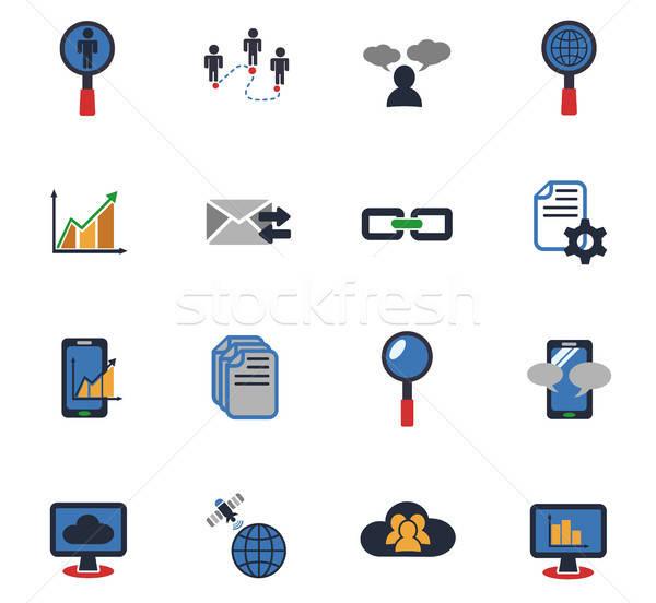 Gegevens analytisch web icons gebruiker Stockfoto © ayaxmr