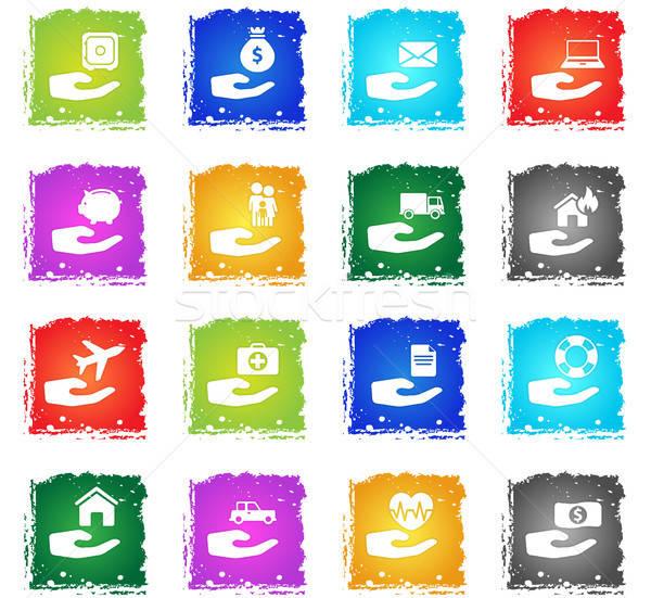 Seguro iconos de la web grunge estilo usuario Foto stock © ayaxmr