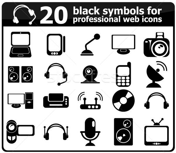 20 black media icons Stock photo © ayaxmr