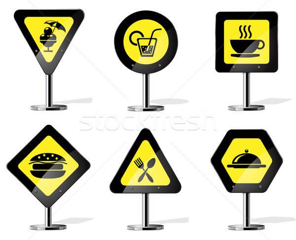 Verkeersbord iconen vector web cafe Stockfoto © ayaxmr