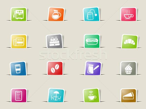 Stock fotó: Kávézó · egyszerűen · ikonok · ikon · szett · háló · felhasználó