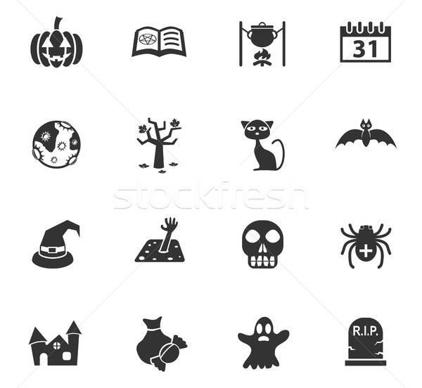 Photo stock: Halloween · icônes · web · utilisateur · interface · design