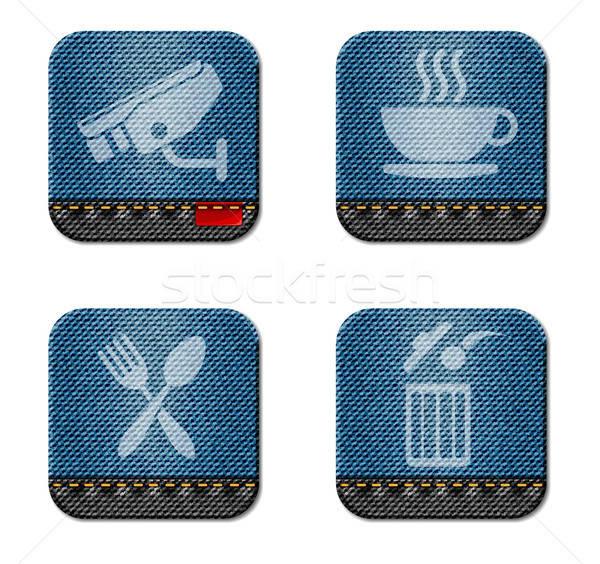 Informatie denim stijl iconen gebruiker interface Stockfoto © ayaxmr