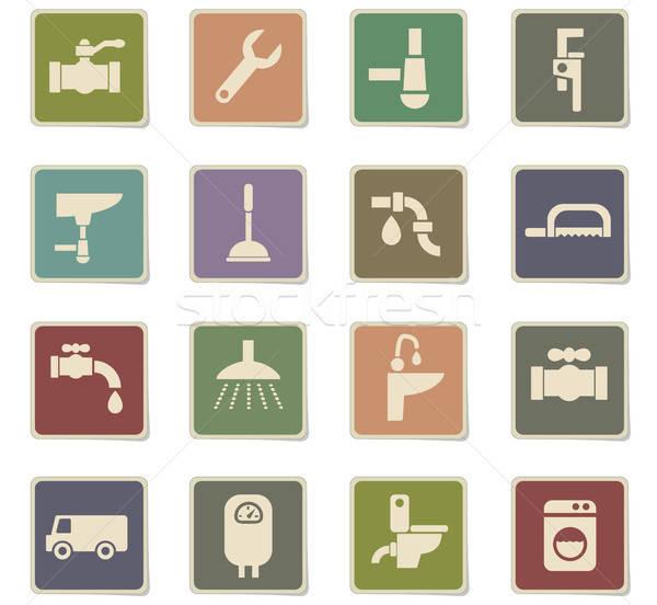Plumbing servizio icone web utente interfaccia Foto d'archivio © ayaxmr