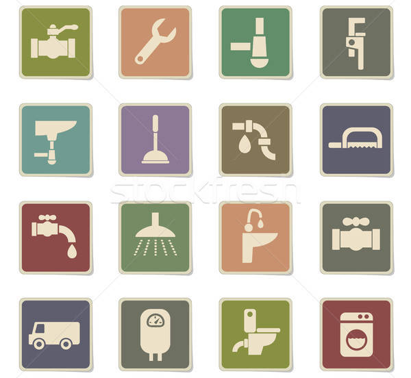plumbing service icon set Stock photo © ayaxmr