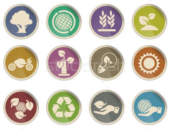 Ecologie iconen label web gebruiker boom Stockfoto © ayaxmr