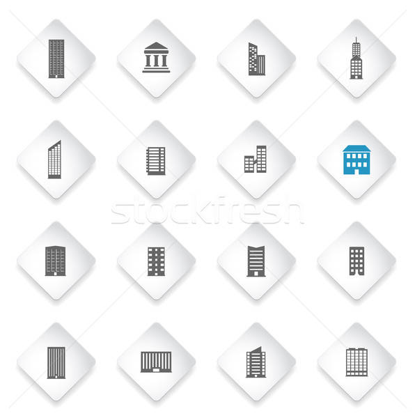 Buildings icons set Stock photo © ayaxmr