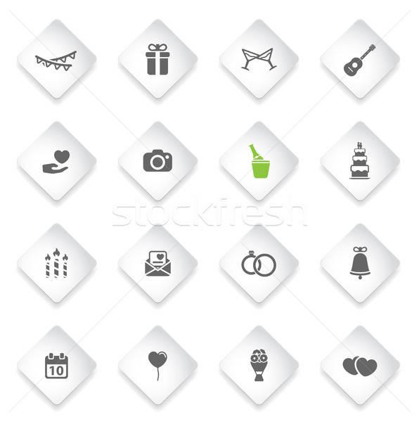 Mariage simplement icônes web utilisateur interface Photo stock © ayaxmr
