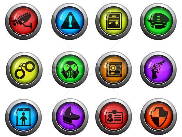 Stock fotó: Biztonság · ikon · szett · fényes · ikonok · weboldal · felhasználó
