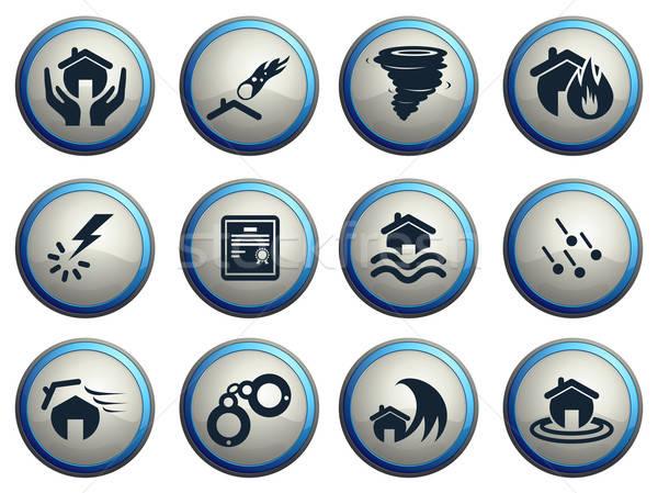 Ev sigortası simgeler ikon web kullanıcı arayüz Stok fotoğraf © ayaxmr
