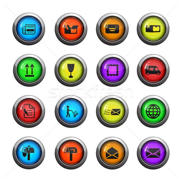 Posta szolgáltatás egyszerűen ikonok ikon szett háló Stock fotó © ayaxmr