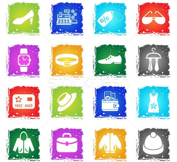 Kleding winkel web icons grunge stijl Stockfoto © ayaxmr