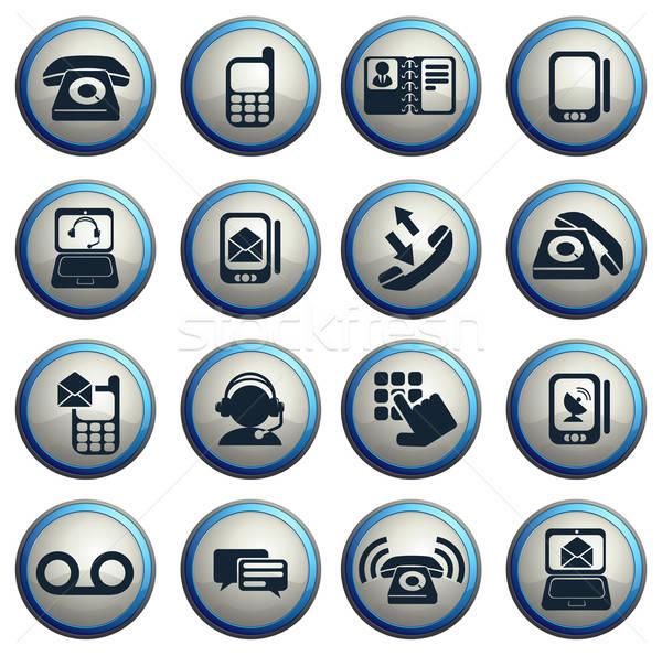 Telefon ikonok vektor háló felhasználó interfész Stock fotó © ayaxmr