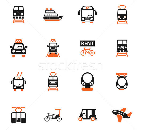 public transport icon set Stock photo © ayaxmr