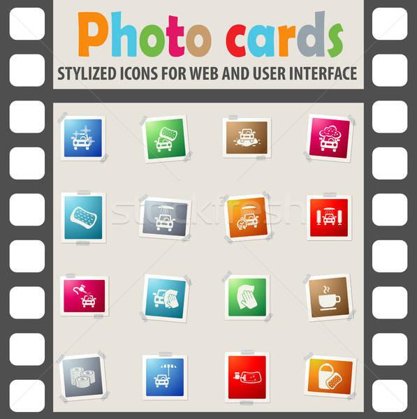 Lomtár szolgáltatás ikon gyűjtemény webes ikonok felhasználó interfész Stock fotó © ayaxmr