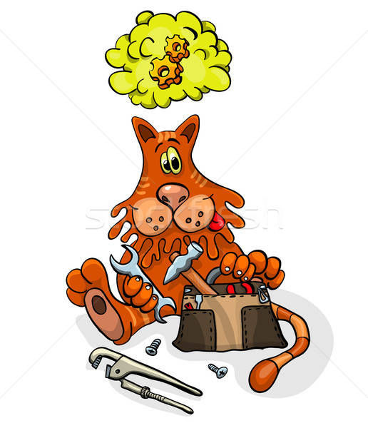Cartoon character cat with tools for repair Stock photo © ayaxmr