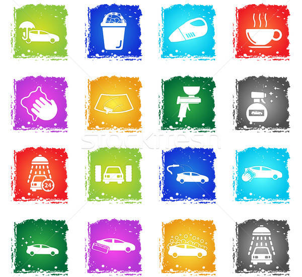 Lomtár egyszerűen ikonok szimbólumok grunge stílus Stock fotó © ayaxmr