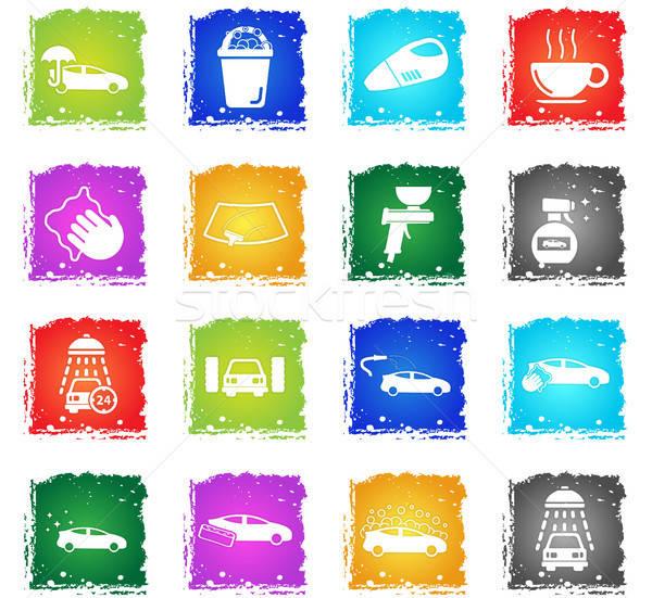 Car wash eenvoudig iconen symbolen grunge stijl Stockfoto © ayaxmr